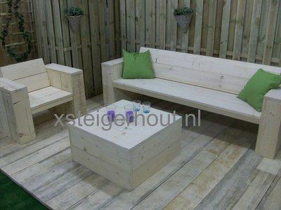 Loungeset bouwpakket steigerhout xsteigerhout for Zelf loungeset maken