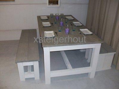 Kloostertafel set xsteigerhout for Bouwpakket steigerhout